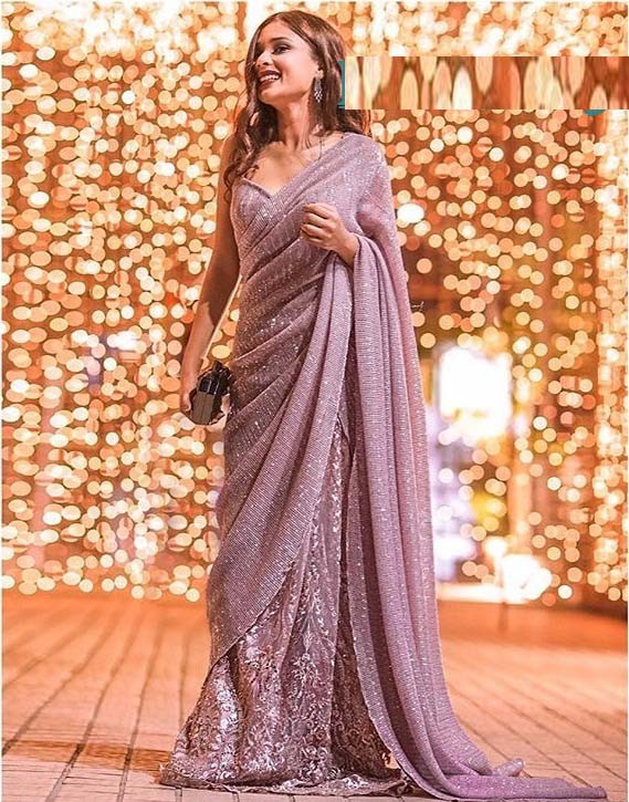 Light Pink Sequin Saree