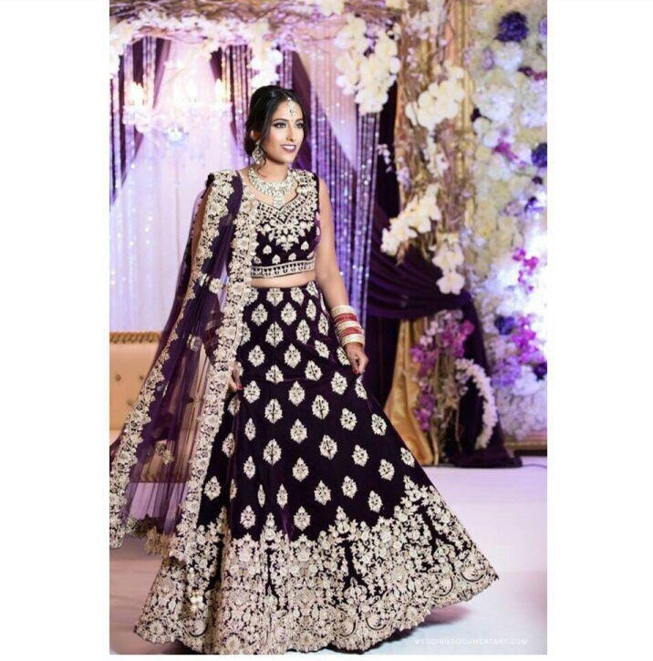 Wine Color Wedding Wear Lehenga