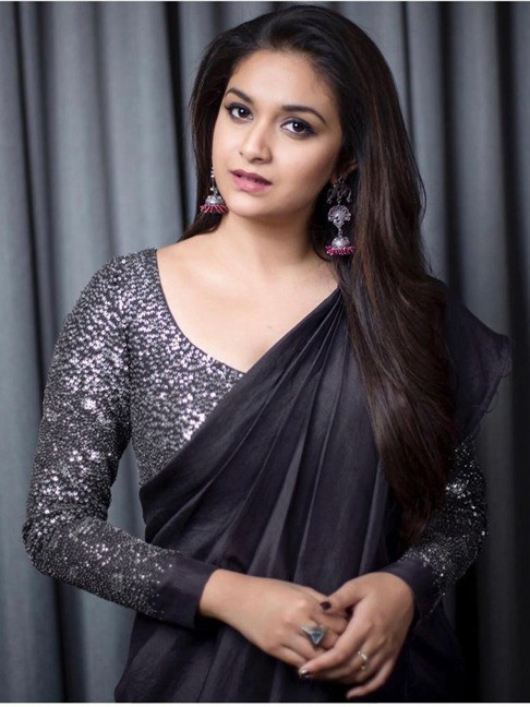 Black Color Saree With Sequin Blouse
