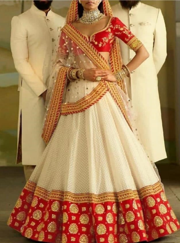 White And Red Color Bridal Wear Lehenga