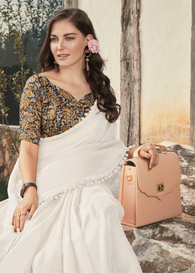 Designer White Color Saree With Printed Blouse