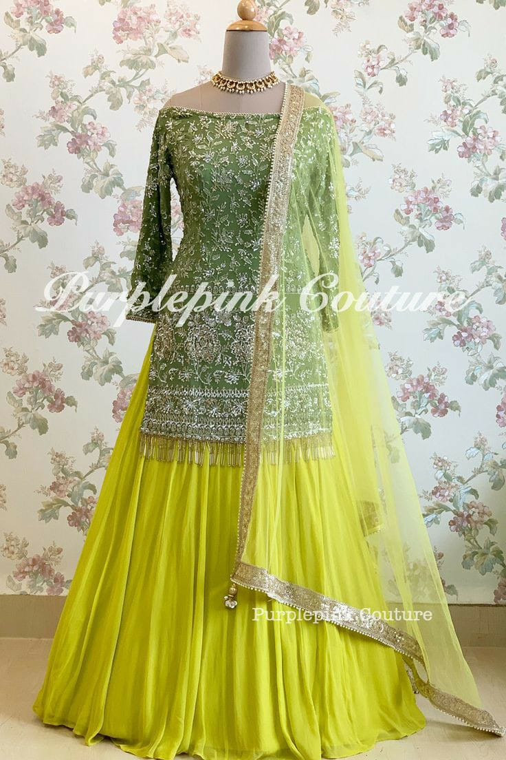 Latest  Mehndi Top With Lemon Yellow Net Lehenga