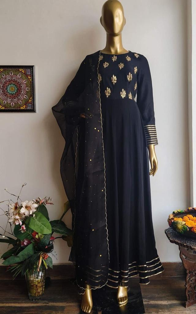 Designer Black Color Embroidery Work Party Wear Salwar Suit