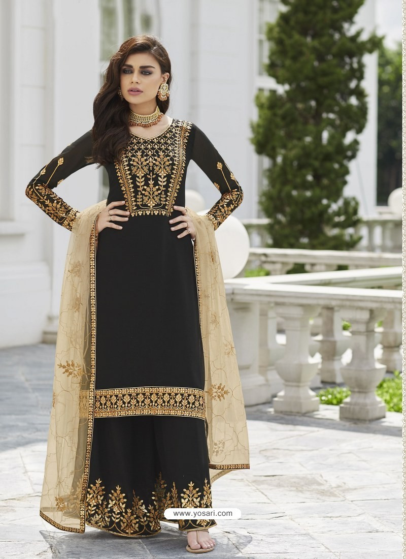 Entrancing Fancy Black Color With Embroidery Sharara Suit