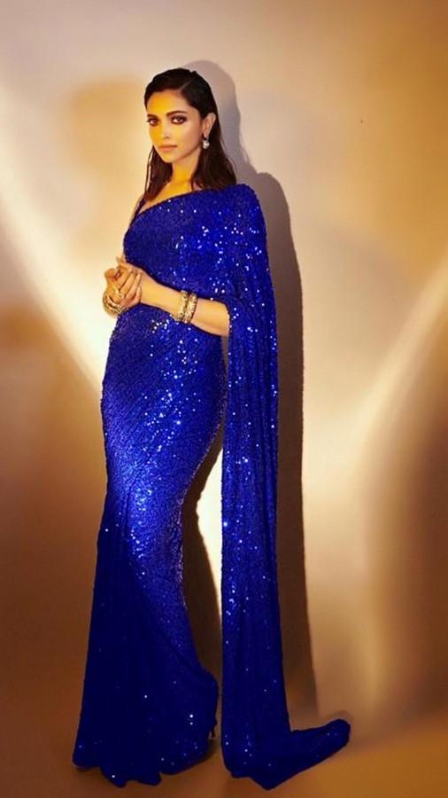 Bollywood Royal Blue Color Sequin Saree
