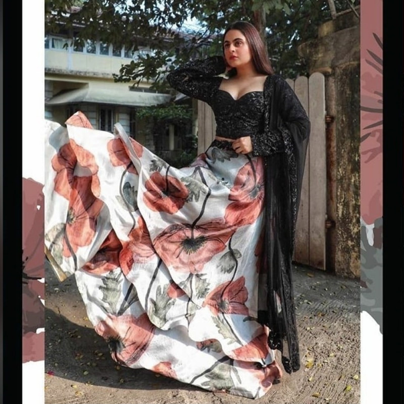 Designer White And Black Color Digital Print Lehenga Choli