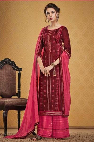Beautiful Maroon Color Palazzo Suit