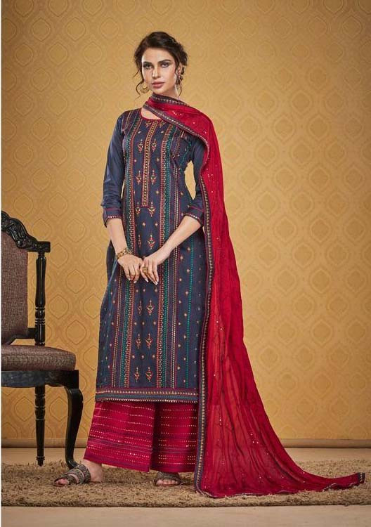 Beautiful Silk Cotton Embroidery Work Palzo Suit