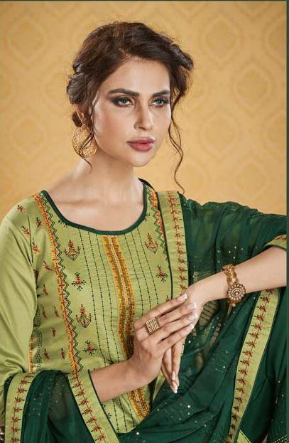 Amazing Pista Color Embroidery Work Palazo Suit