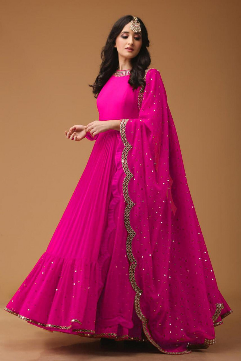Stylish Designer Pink Color Long Gown