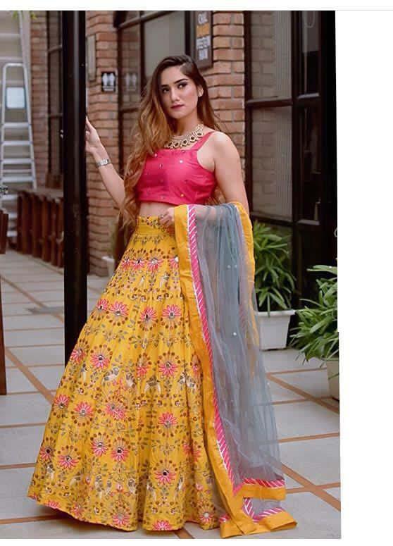 Stylish Yellow Color Wedding Wear Lehenga Choli