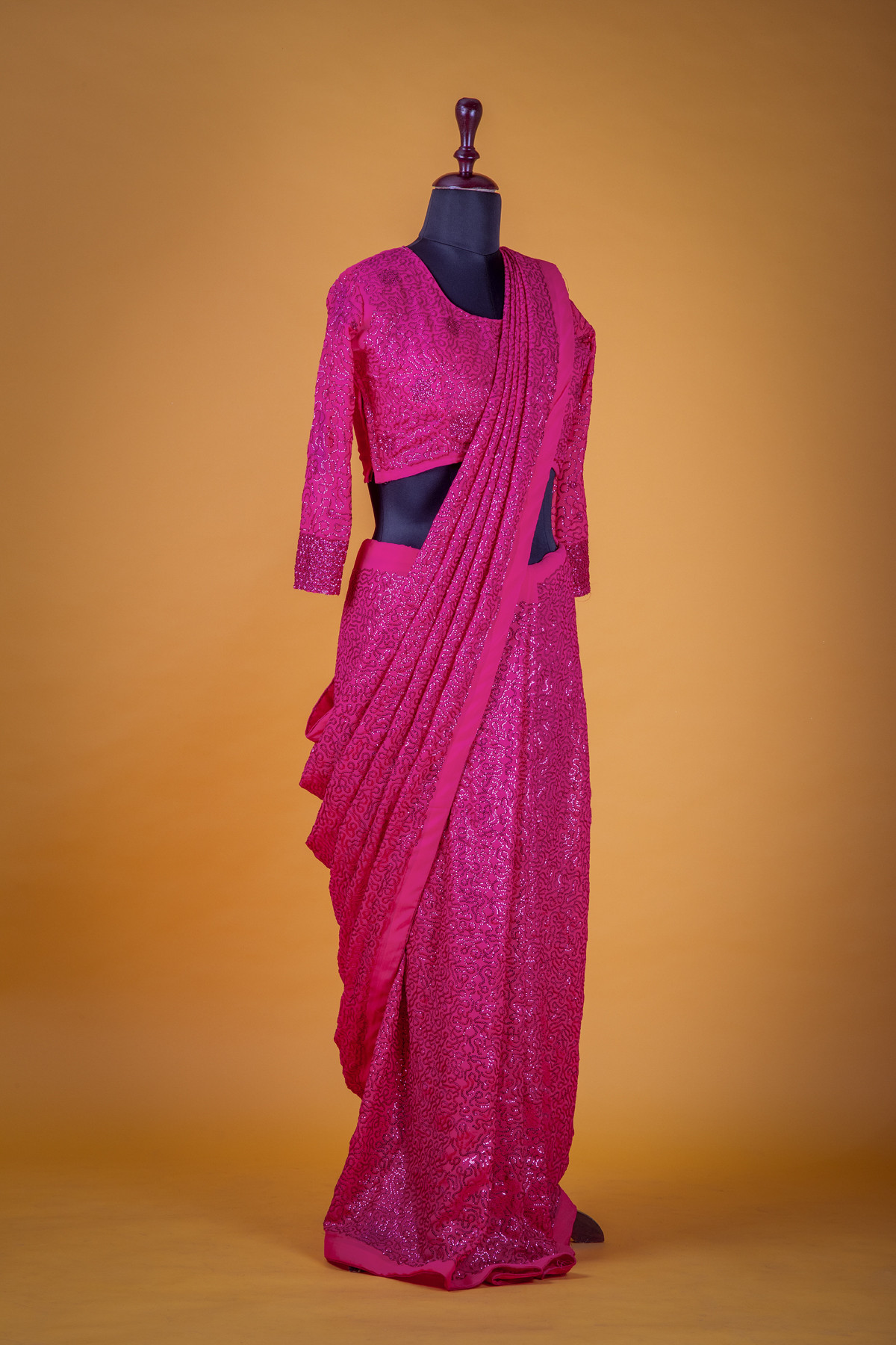 Pink Color Party Wear Sequence Saree