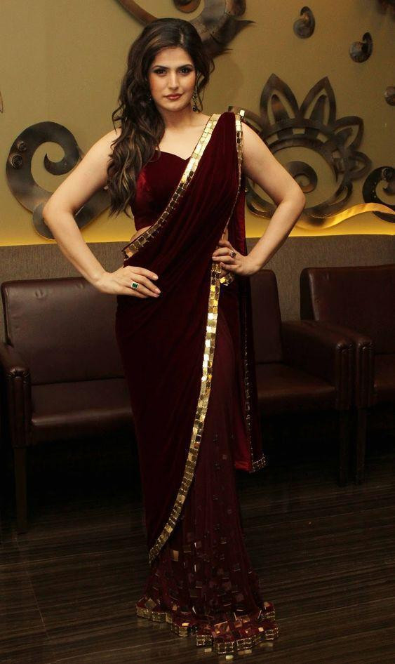 Latest Bollywood Maroon Color Saree