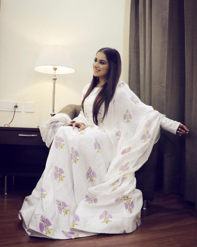 Designer White Color Printed Party Wear Long Gown