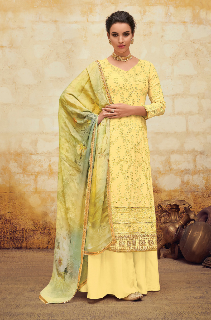 Yellow  Color Embroidery Work Palazo Suit