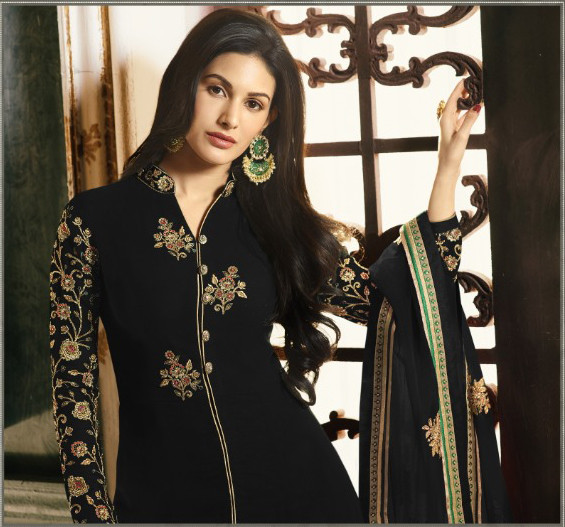 Black Color Embroidery Work Anarkali Suit