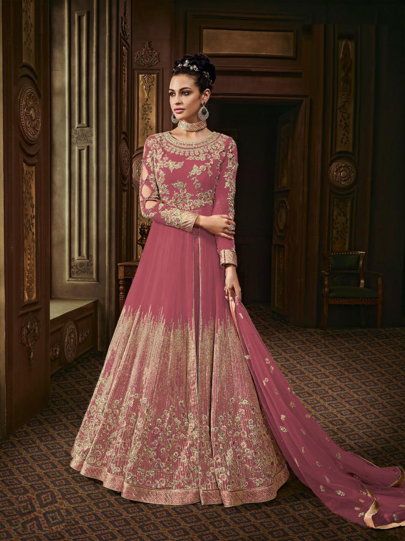 Peach  Colored  Anarkali  Suit With  Embroidery Work