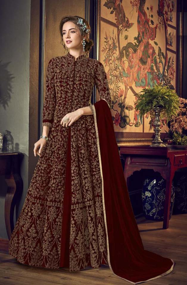 Beautiful Maroon Color Heavy Butterfly Net With Embroidery Work Anarkali Dress
