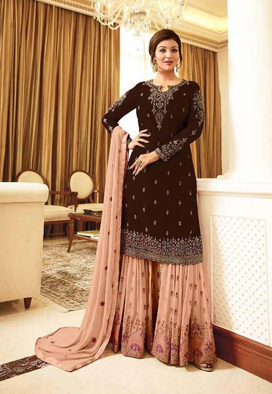 Wedding Wear Brown Color Embroidery Work Sharara Suit