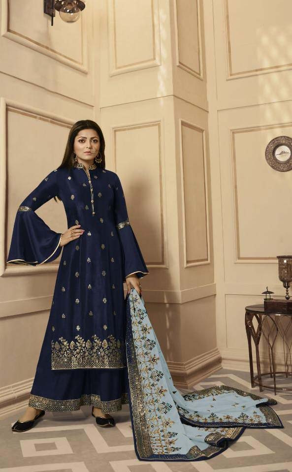 Amazing Navy Blue Stylish Heavy Embroidery Work Palazo Suit