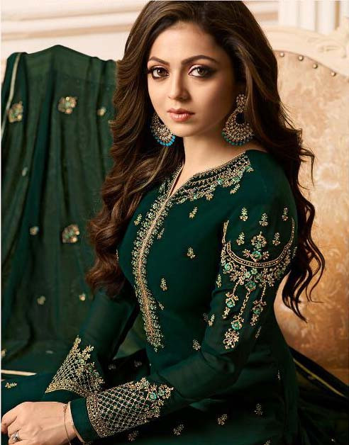 Wedding Wear Dark Green Color Salwar Suit
