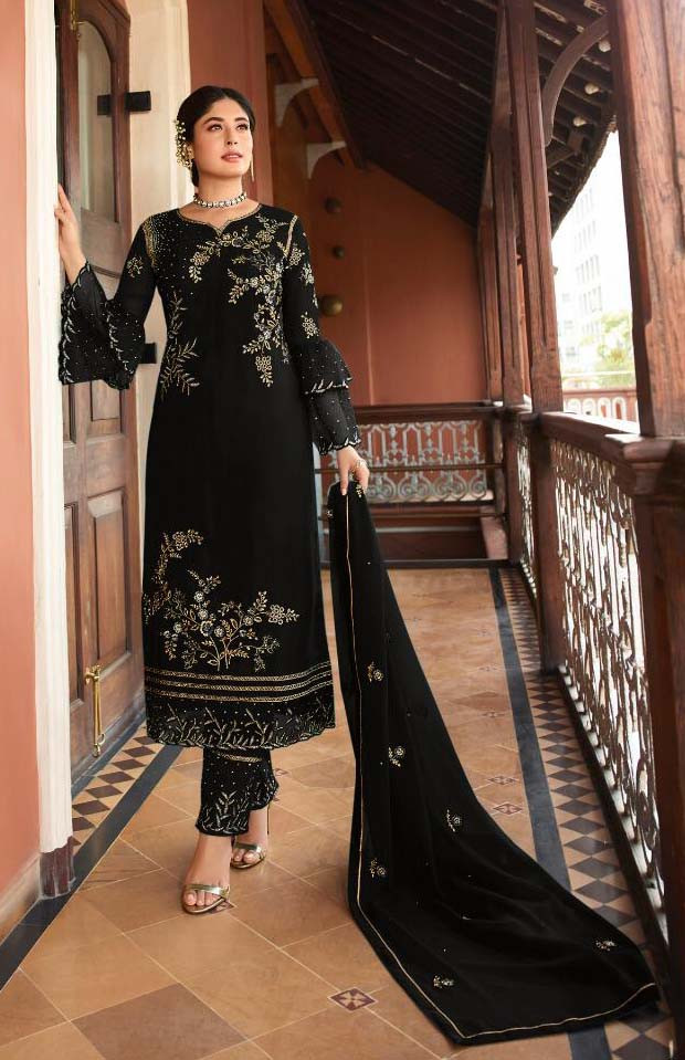Black Color Embroidery Work Pakistani Suit With Heavy Dupatta