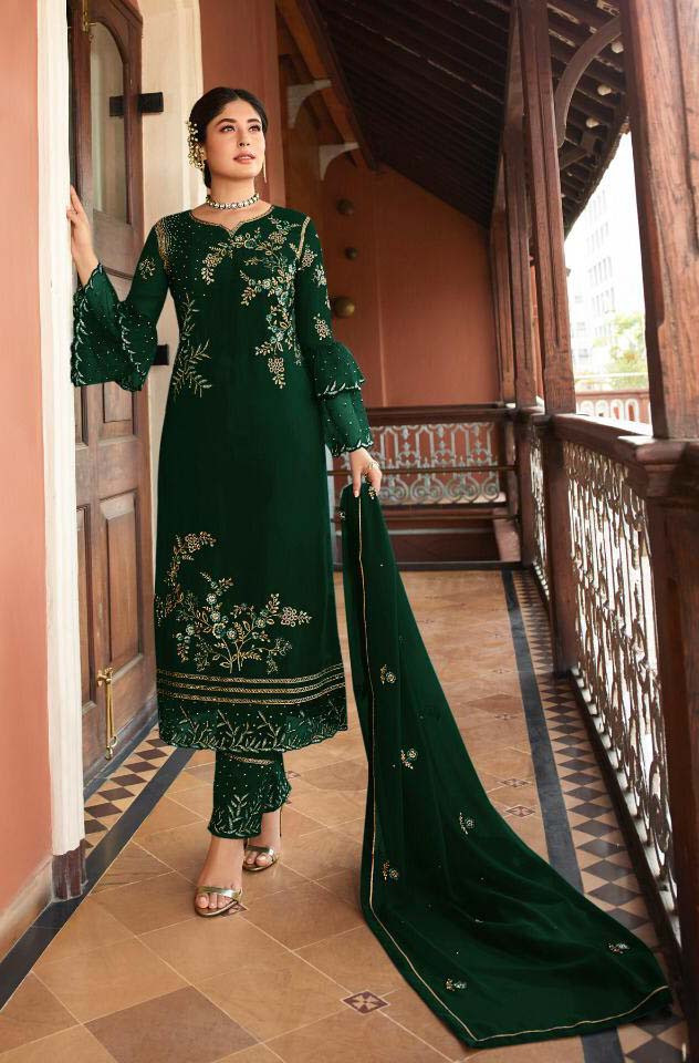Designer Green Color Paty Wear Pakistani Suit
