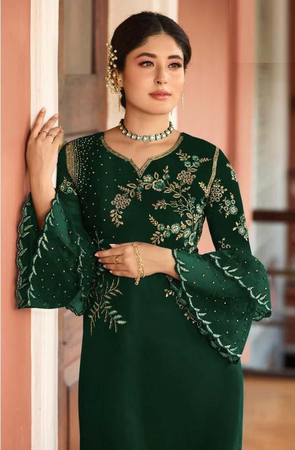 Designer Green Color Paty Wear Pakistani Suit