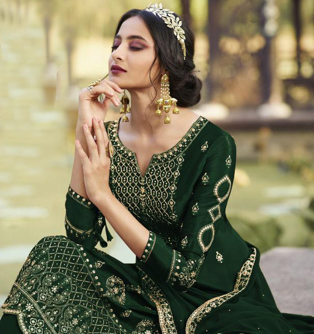 Green Color Party Wear Sharara Suit