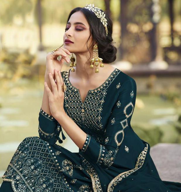 Wedding Wear Rama Color Sharara Suit