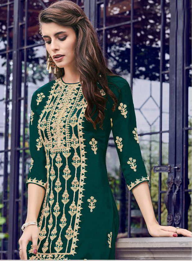 Amazing Embroidery Work Green Color Sharara Suit