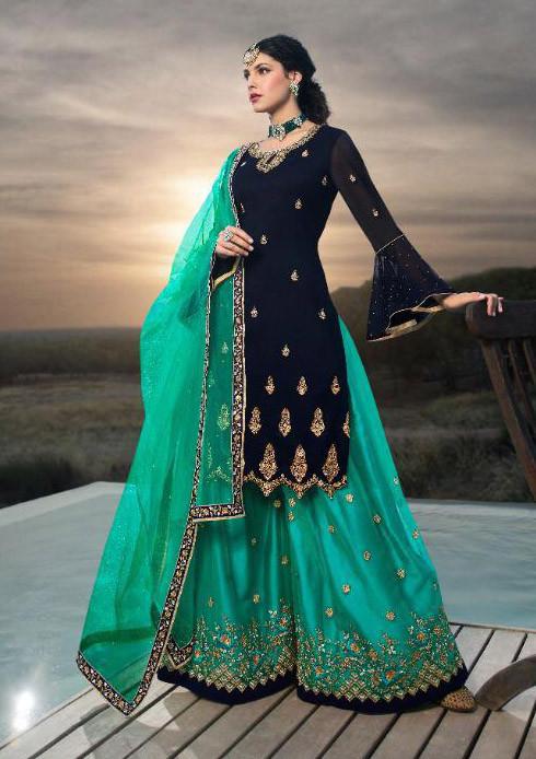 Dark Blue Embroidery Work Sharara Suit
