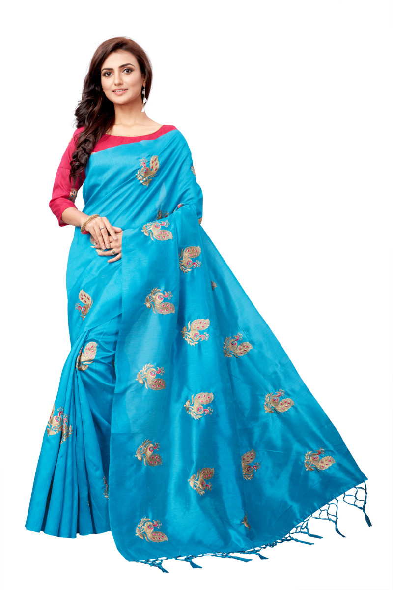 Party Wear Sky Blue Color Embroidered Saree