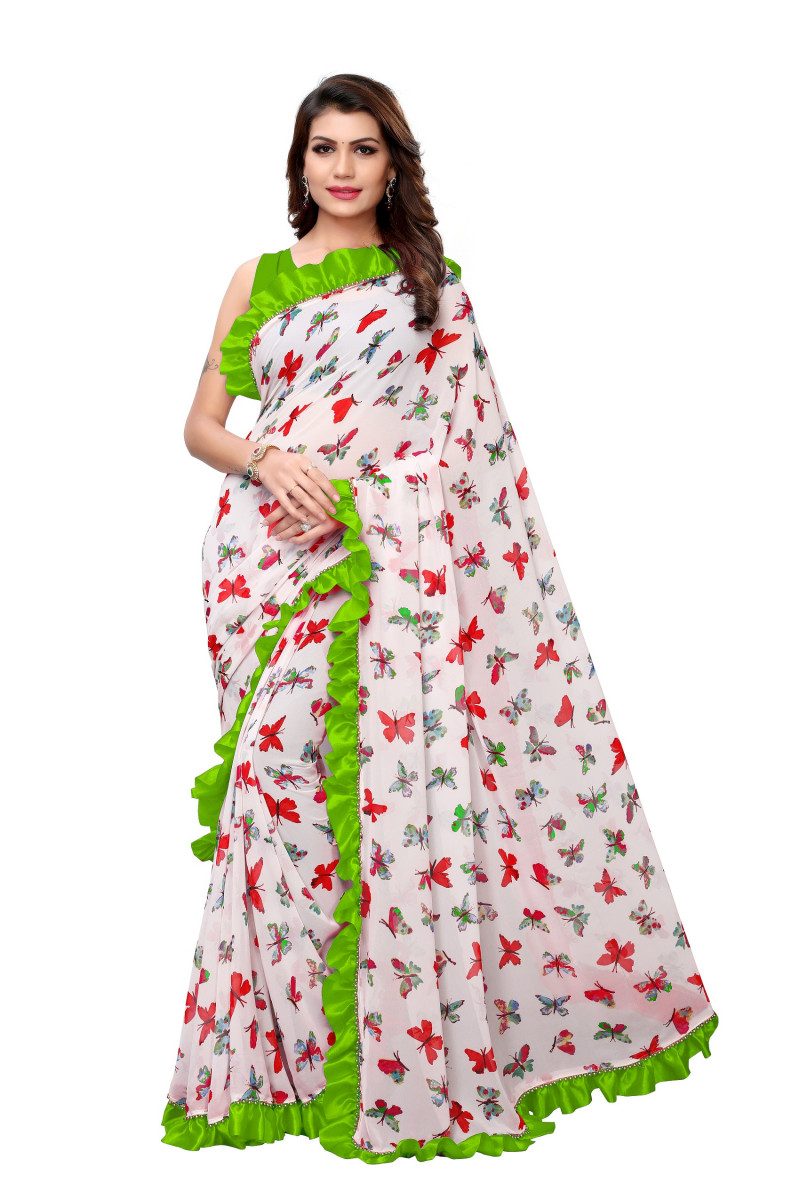 Party Wear Ruffle Style Off White Saree
