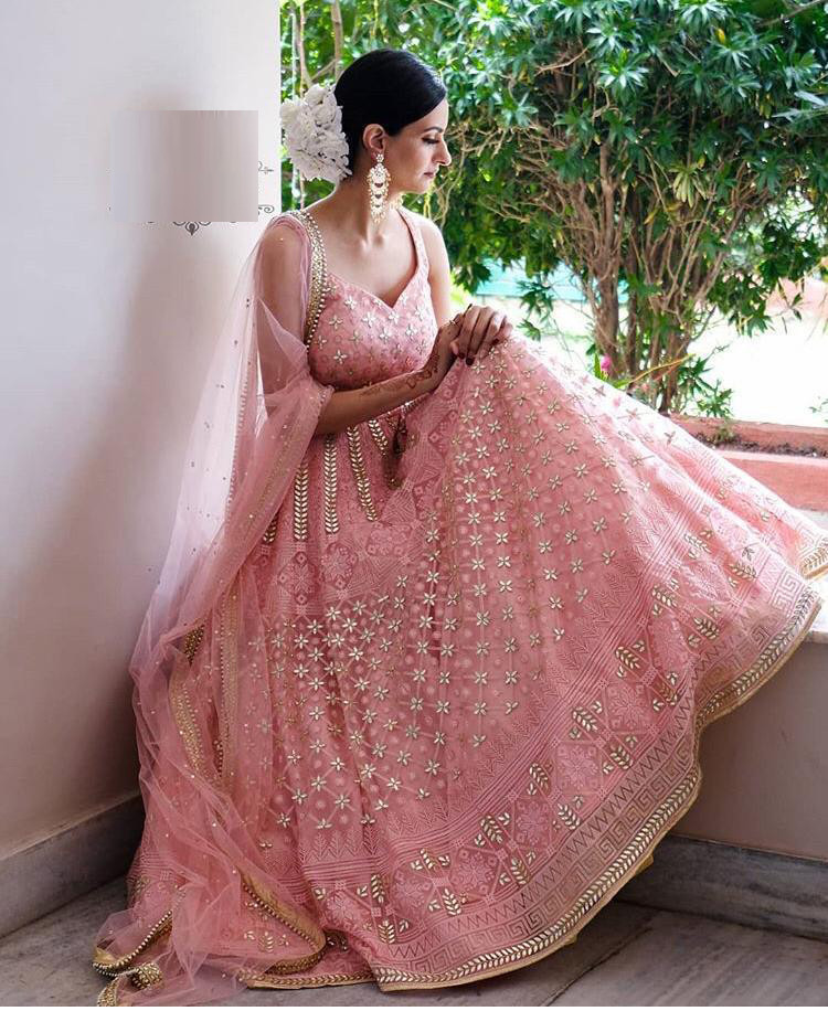 Designer Party Wear Peach Color Georgette  With Heavy Embroidery Shine Work Lehengha Choli