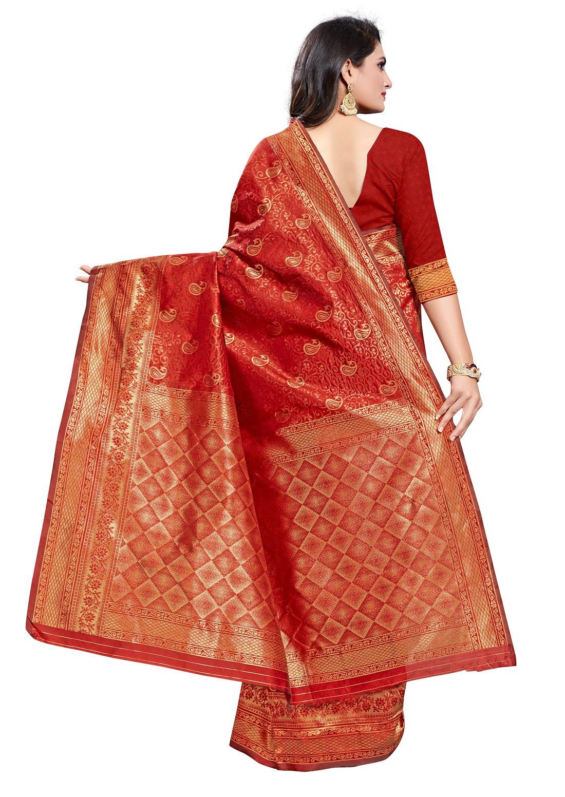 Beautiful Red Color Poly Silk Saree