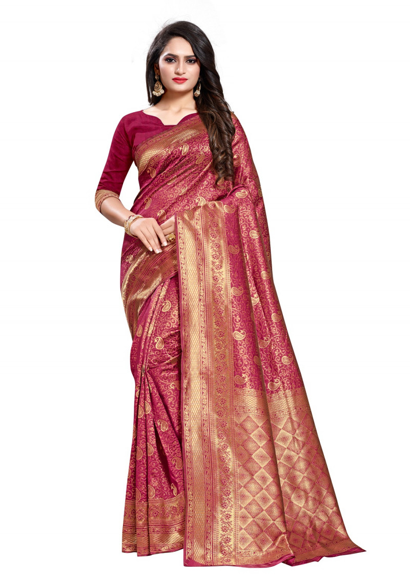 Magenta Color Designer Silk Saree With Beautiful Blouse