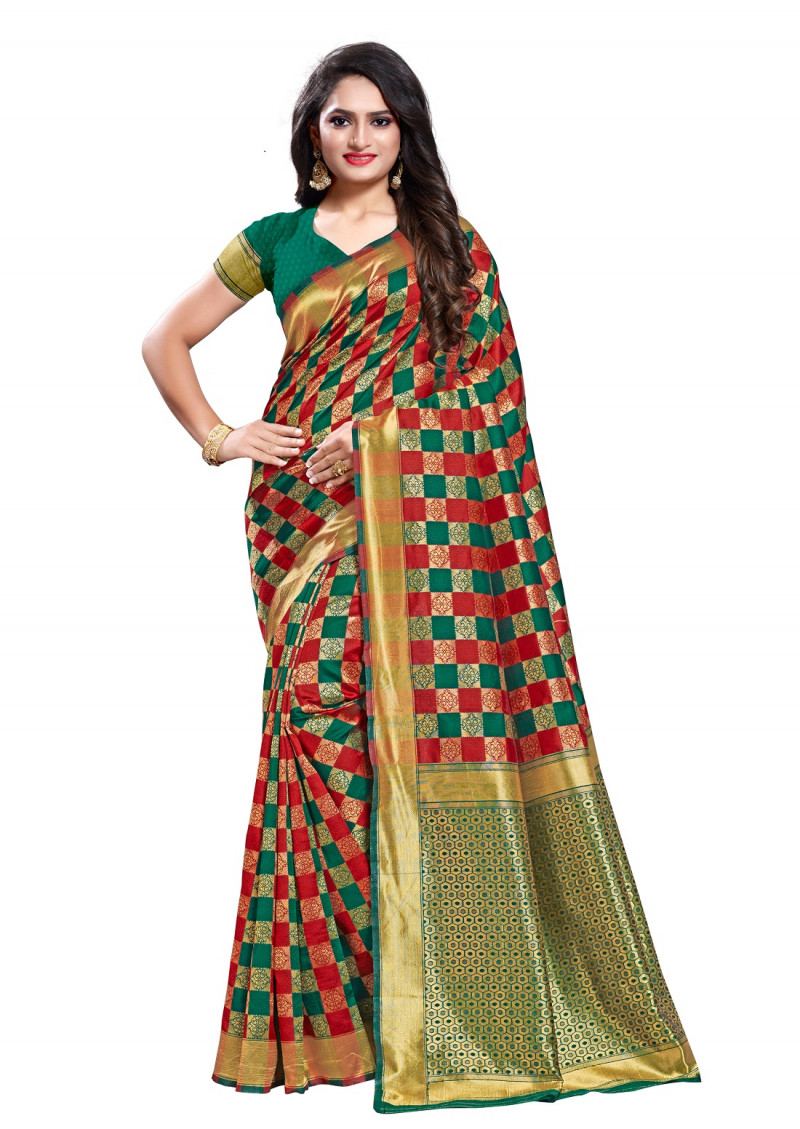 Blissful Green With Maroon Color Silk Saree