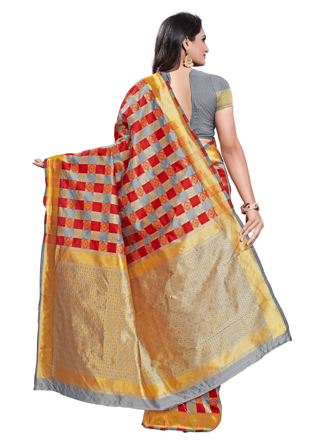 Beautiful Poly Silk Grey With Maroon Color Saree In Online
