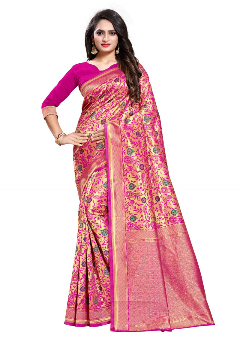 Pink Color Jacquard Work Saree For Woman