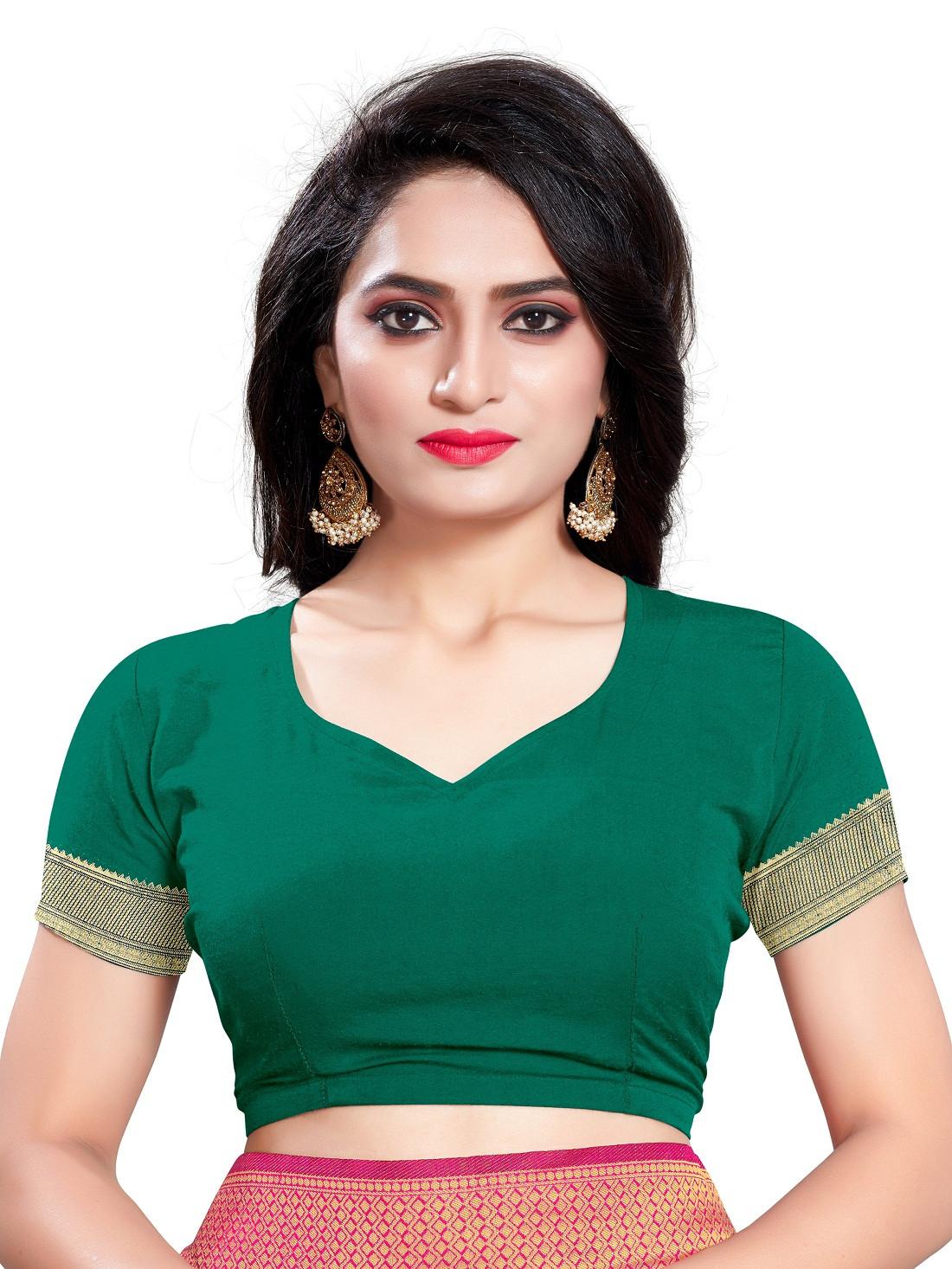 Beautiful green Color Silk Saree With Blouse
