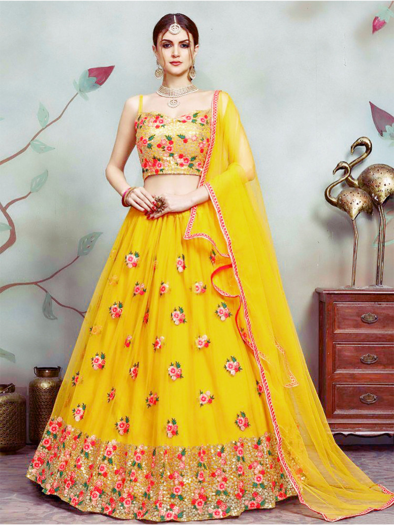 Wedding Wear Yellow Color Lehenga For Haldi Ceremony