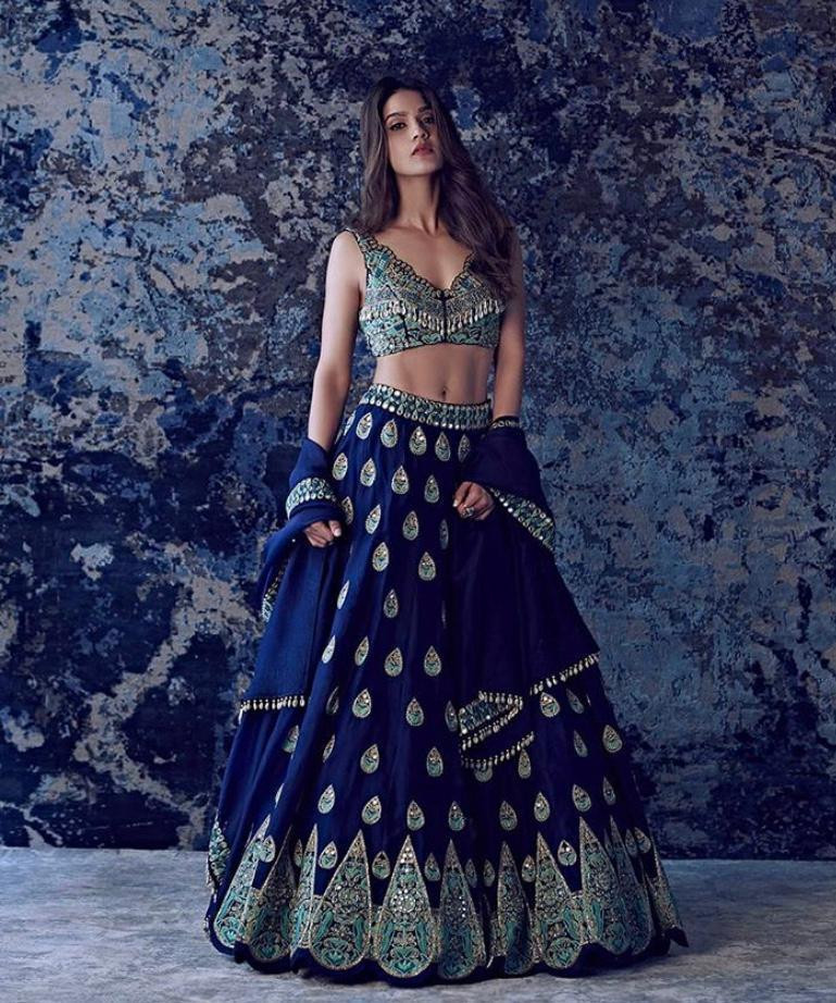 Heavy Designer Embroidery Work Blue Color Lehenga Choli