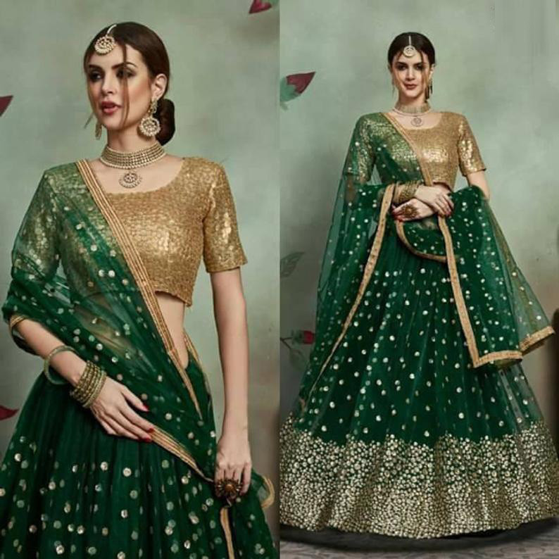Party Wear Green Color Lehenga Choli