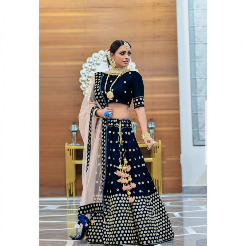 Heavy Velvet Navy Blue Color Lehenga Choli