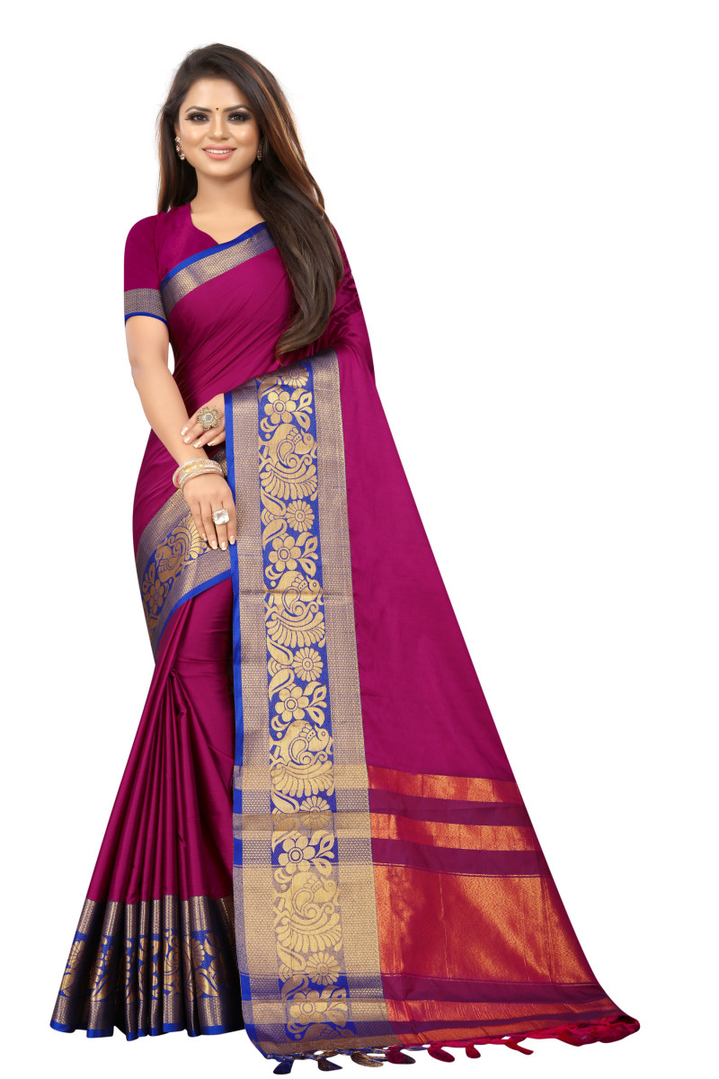 Designer Magenta Color Poly Silk With Jacquard Work Saree