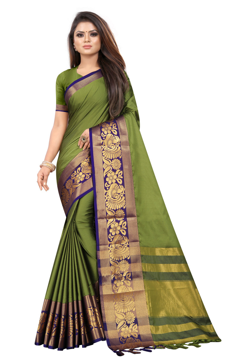 Green Color Party Wear Saree Online