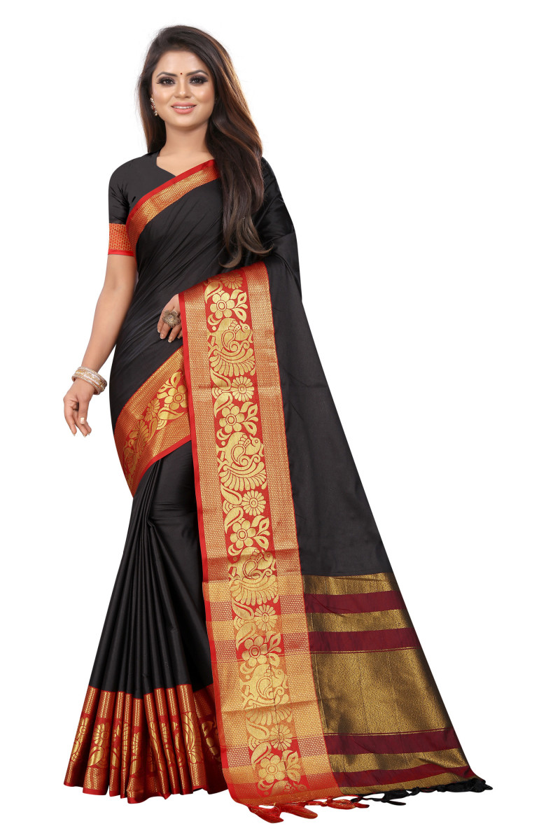 Designer Black And Maroon Color Party Wear Saree