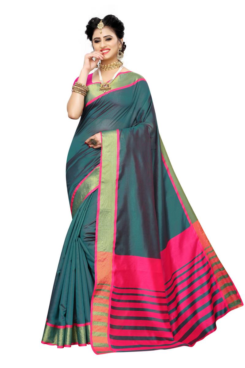 Festival Wear Tow Color Silk Saree
