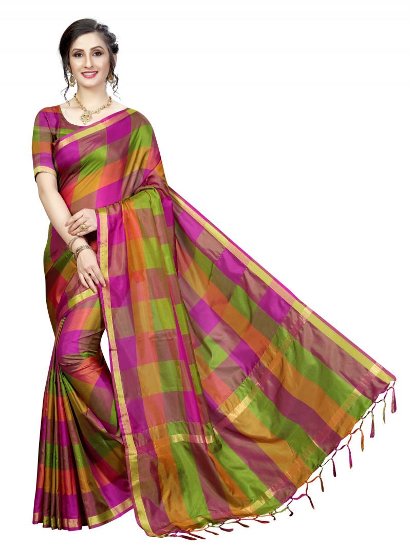 Beautiful Multi Color Silk Silk Saree